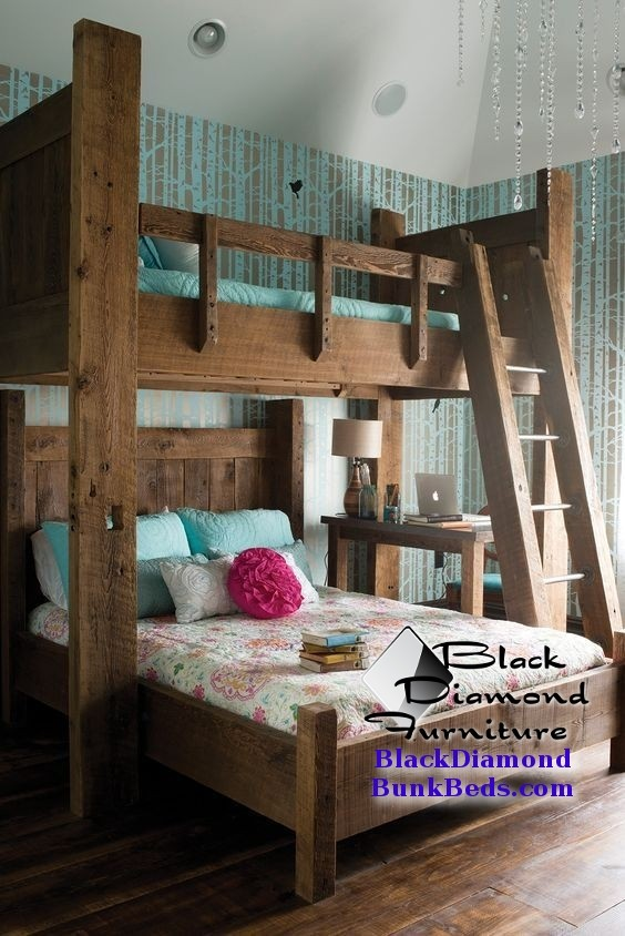 "Adult bunk bed Twin over Queen with 30"" Platform (Please note that we do this metal ladder by request only)"