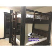 Queen Bunk Bed with Rustic Timbers