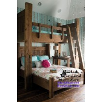 """Adult bunk bed Twin over Queen with 30"""" Platform (Please note that we do this metal ladder by request only)"""
