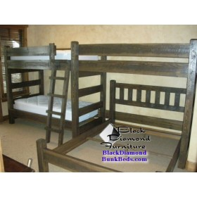 Cedar Panel Quad Bunk Bed